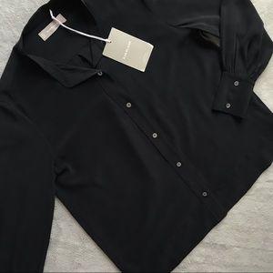 NWT Everlane Relaxed Silk Collarless Button Shirt